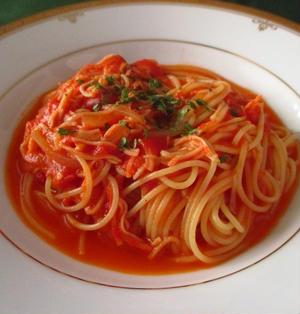 蟹のトマトクリームスパゲティ