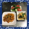 【献立17】ささみケチャップ炒め・ちくわと青梗菜の卵とじ・ブロッコリー・きゅうりトマトサラダ