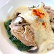 熱々蒸し!白菜と鶏肉の豆乳クリームかけ