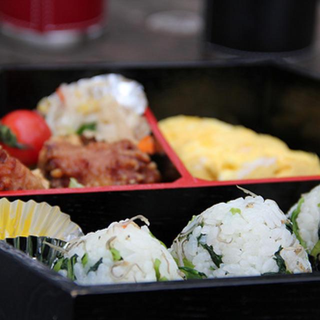野菜も手軽にカルシウムもとれるお弁当~小松菜とじゃこの混ぜご飯