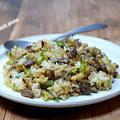 ガーリック風味の肉塩昆布チャーハン&「新しいストウブ鍋がやってきた2個も」