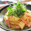 柚子胡椒風味、たけのことベーコンの和風ペペロンチーノ。旬のたけのこを使って簡単パスタ。