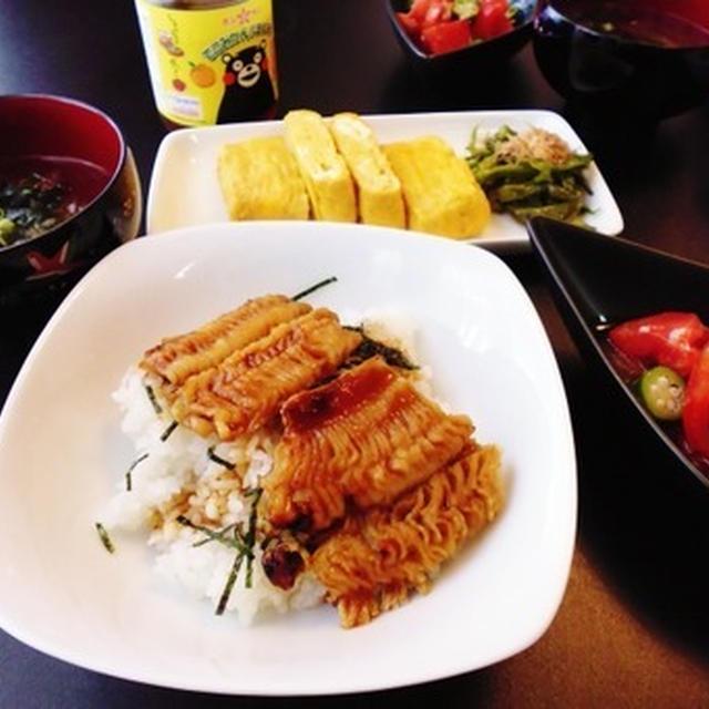 鱧さんゲットで照り焼き丼とトマトとおくらの塩麹ポン酢マリネ