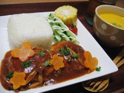 豆腐入りチキンハンバーグ、お弁当