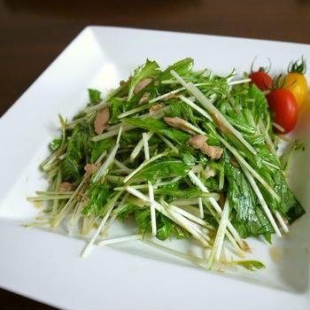 【掲載】くらしのアンテナ(レシピブログ)★水菜とツナの簡単サラダ♪ゆず風味♪