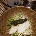 梨と水菜の大葉ジェノベーゼ、梨ともやしのナムル、ガランティーヌ、親子丼
