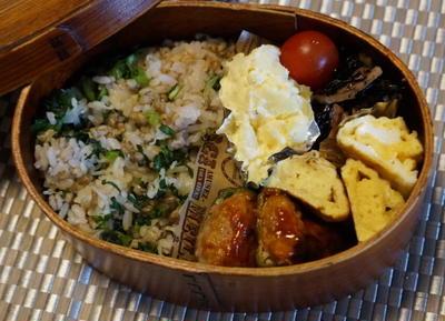 小松菜チリメンご飯と ピーマンの肉詰め弁