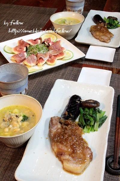◆醤油糀で生姜焼きロースと無花果と生ハムのサラダ♪