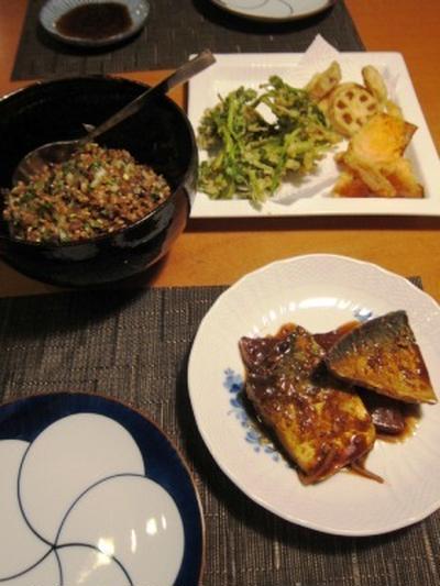 アジアン雑穀サラダ、野菜天麩羅、鯖の味噌煮