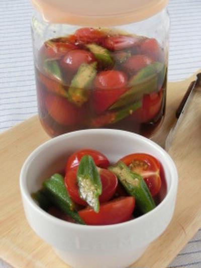 夏のおつまみにもピッタリ☆簡単!ミニトマトとオクラのピリ辛ポン酢浸し