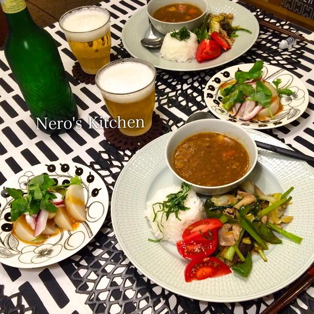 和風カレーとオイスター野菜炒めワンプレート・真蛸とかぶのポン酢がけ♪
