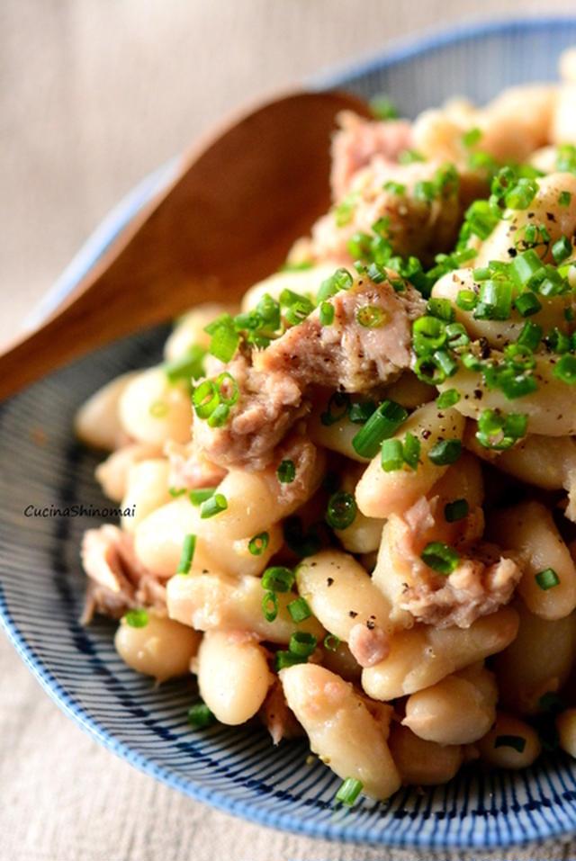 白インゲン豆のピリ辛ツナ炒め