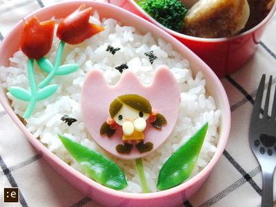 >野菜餃子*ちびガールちゃん&チューリップのお弁当 by goma-milkさん