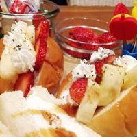 ペパーミントがアクセントのイチゴとバナナのホイップサンド♪木曜日♪ご飯。