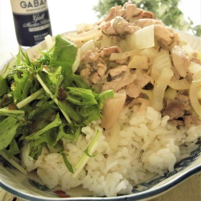 野菜と豚こまの炒め物がご飯の上にのっている