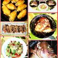 タイの兜煮に肉野菜炒め