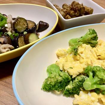 豚バラなす、ブロッコリーエッグ、ごぼうの土佐煮 【15分レシピ】