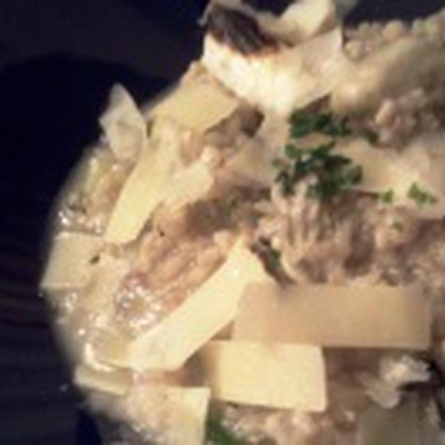 カキと焼きねぎの玄米リゾット