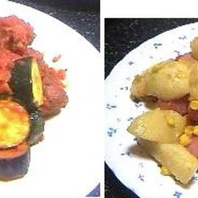 ミートボールとカボチャ団子夏野菜のトマトソース煮、ジャーマンポテト 他