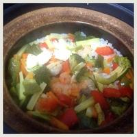 パラッと旨炒めペーストで炊飯土鍋炊き込み御飯
