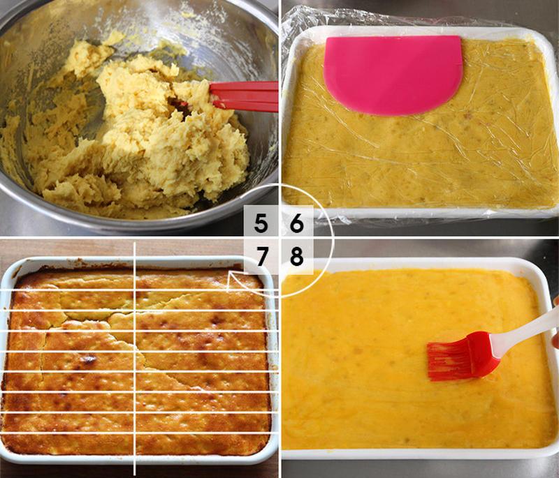 【5】熱いうちにマッシャーで潰していきます。砂糖、牛乳、バター、卵を加え、滑らかになるまで混ぜ合わせ...