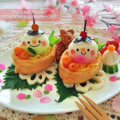 キャラご飯*稲荷ボートで簡単♪真ん丸ひな祭りプレート