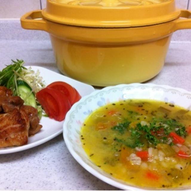 ストウブ鍋でグリルドチキンと穀物スープ