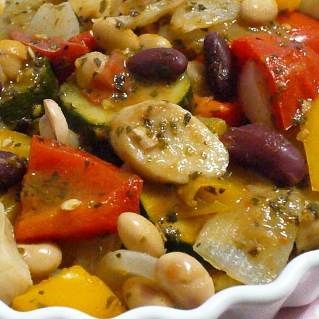 ルクエで♪お豆たっぷりラタトゥイユ~簡単☆抹茶白玉ぜんざい