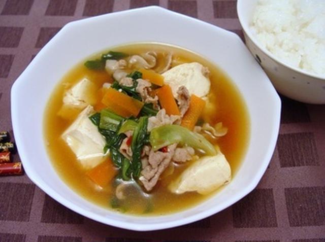 豚肉と青梗菜と豆腐の和風スープ
