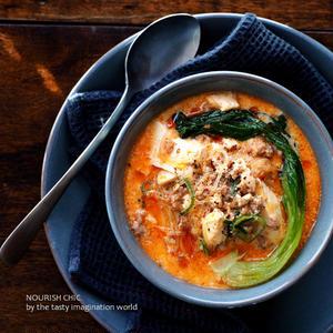 くずし豆腐の坦々スープ