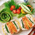 なまり節とキムチチーズの高野豆腐サンドイッチ