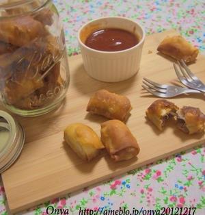 【簡単カフェ飯】おつまみ!お弁当に!ころんとカワイイ挽肉チーズの揚げワンタン♪