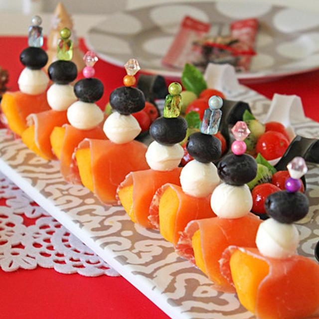 柿モッツァレラのパーティーピンチョス☆クリスマステーブルコーディネート
