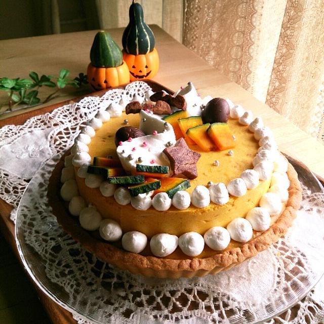 ハロウィンパーティーのかぼちゃタルト。