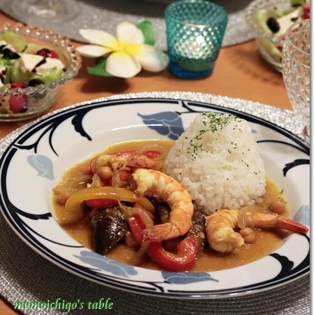 海老とひよこ豆のココナッツカレー*スパイスレシピ♪