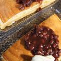 ■おやつ【ベビーチーズ入り 粒餡トッピングのホットケーキ】