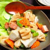 根菜とベーコンの粒マスタードサラダ  レンコンのシャキもち食感が美味しい!