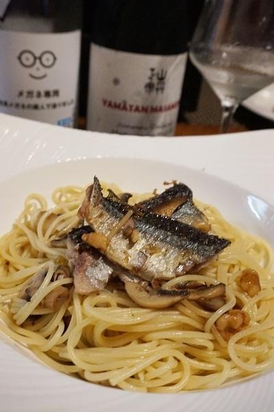 秋刀魚とマッシュルームのパスタ