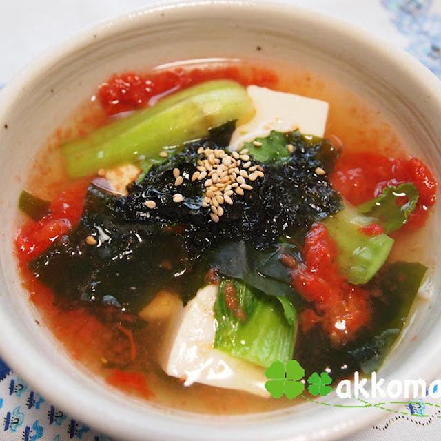 穴開いちゃってますが・・・ ☆ダシダとごま油で韓国風スープ