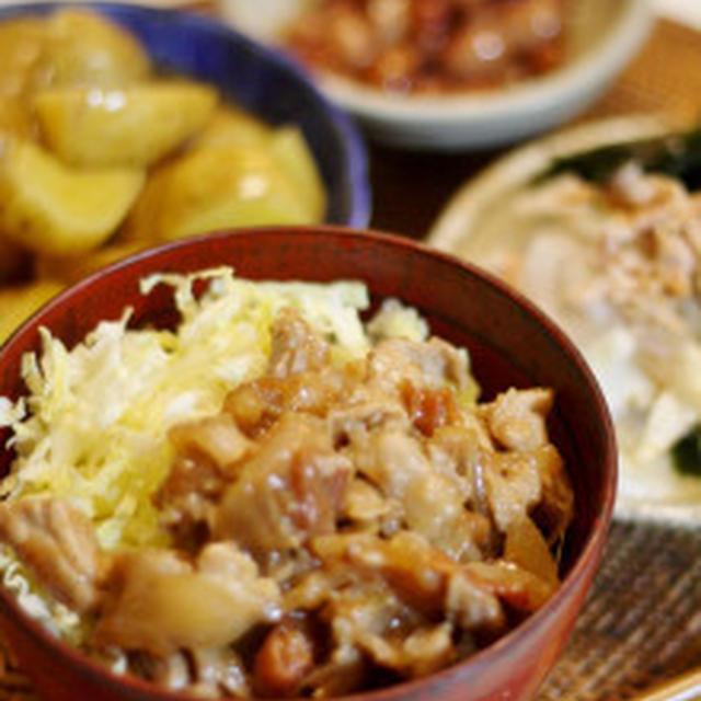 豚肉の梅肉炒め丼