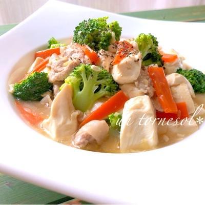 骨粗しょう症予防に!レンジ加熱で時短調理☆ブロッコリーと豆腐の中華蒸し炒め♡レシピ