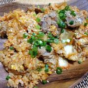 おうちでご飯☆豚キムチ炒飯&焼鳥&ワンタンスープ、