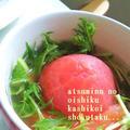美☆レシピ☆余った茹で汁で丸ごとピリ辛トマトスープ