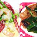 肉ニラ炒め、海老とアスパラのマヨクリーム、マヨ無しポテサラ他
