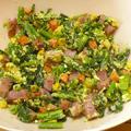 のらぼう菜とハムのスクランブルエッグ
