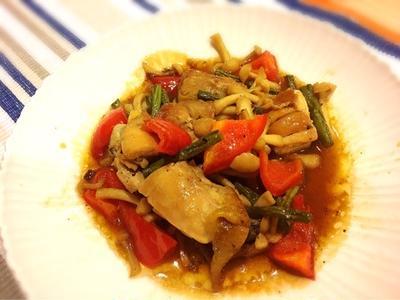 レシピ☆鶏肉とキノコの甘辛サワー炒め