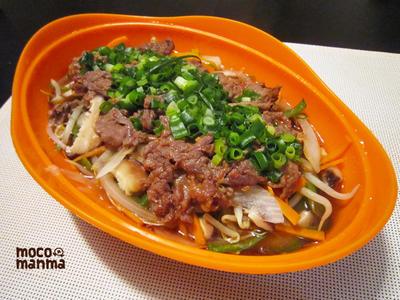 シリコンスチーマーで♪野菜としらたきのピリ辛チャプチェ!!