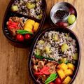【今日のおべんと】さつまいもごはんと豚肉&タマネギの炒めもの弁当