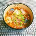 ご飯にかけても旨っ♪韓国風!鯖缶ともやしの旨辛胡麻味噌おかずスープ by からあげビールさん