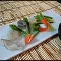 サヨリの昆布締め 辛子酢味噌と